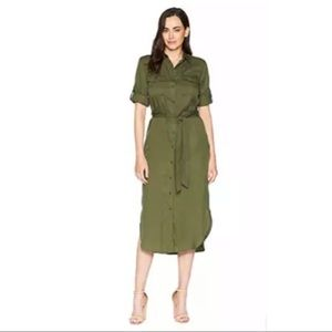 New Ralph Lauren twill green ShirtDress 14 Petite